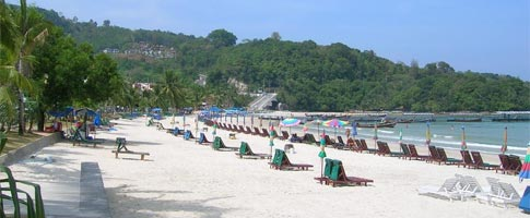 Patong Beach Phuket, sunbeds and parasols