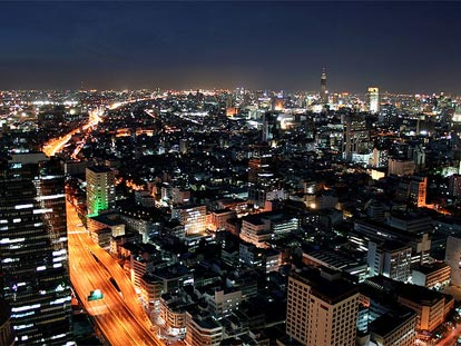 Bangkok City by night - buildings, roads & cars