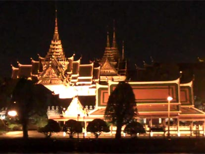 The Grand Palace in Bangkok at night from the Chao Phraya river