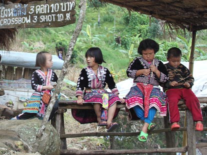 Karen kids in small village north of Chiang Rai Thailand