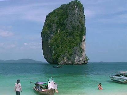 View of Thai island from Krabi beach