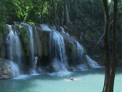 Swimming at a beautiful Koh Samui waterfall